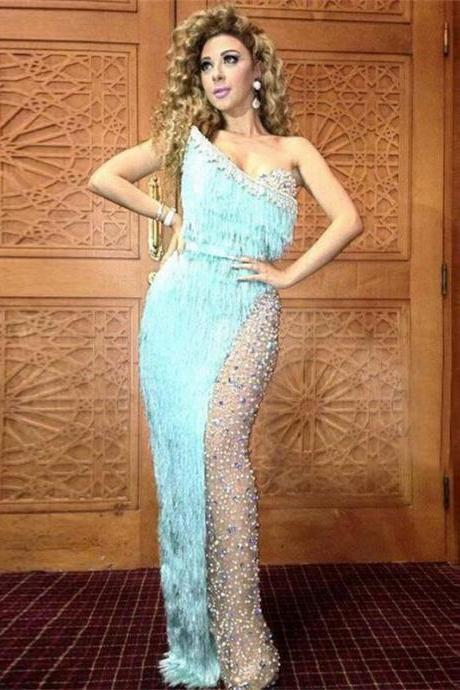 Sexy Myriam Fares Celebrity Dresses Sweetheart Blue Tassels Pearls Beads Floor Length Party Prom Dresses Formal Dresses