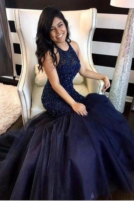 Navy Blue Mermaid Prom Dresses, Halter Long Tulle Prom Gowns,Backless Party Dress,Beading Prom Dress,Custom Made Prom Dresses