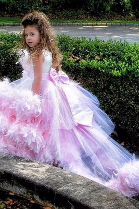 Charming Pink Ball Gown Flower Girl Dresses Luxury Feathers Sweep Train Tulle Girls Pageant Dresses First Communion Dress