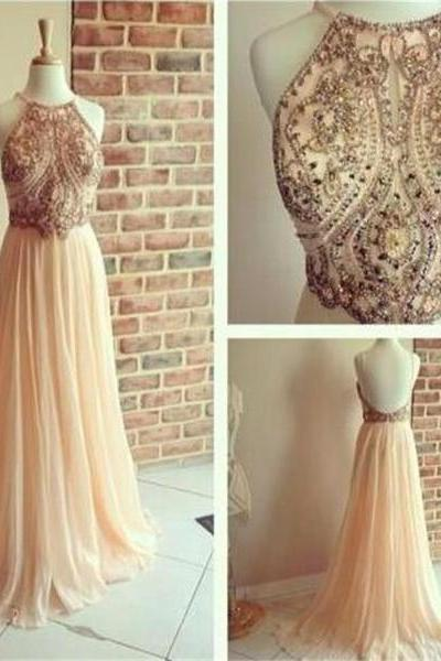 Backless A-line Chiffon Popular Cocktail Evening Long Prom Dresses with Beads 2017 Backless Champagne Prom Gowns