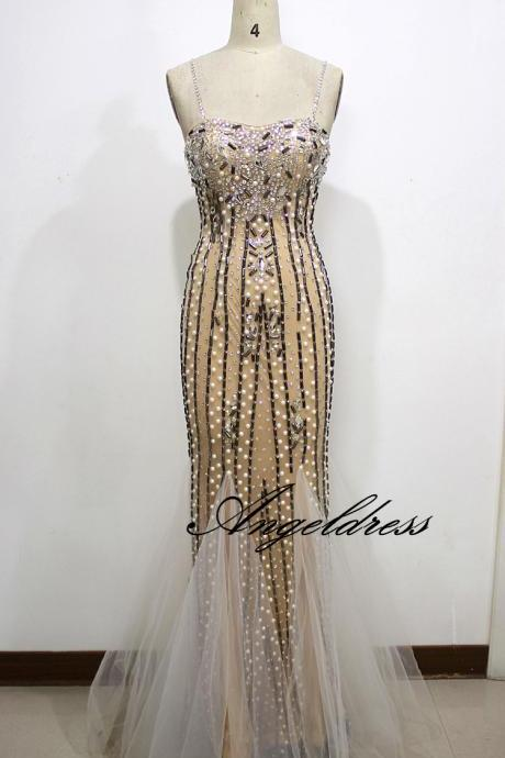 2017 Custom Made High Quality Prom Dresses Mermaid Spaghetti Straps Women Evening Party Dress with Crystals Beads Champagne Prom Gowns