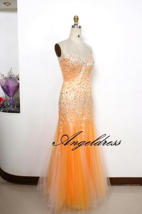 Luxury Orange Mermaid Prom Dresses 2017 New Sweetheart Floor length Tulle Party Dress with Crystals Custom Women Evening Gowns