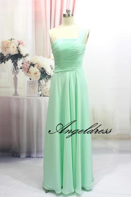 New Arrival Mini Green Long Chiffon Cheap Bridesmaid Dresses A Line One shoulder Elegant Wedding Party Dress with Pleat Floor Length Bridesmaid Gowns