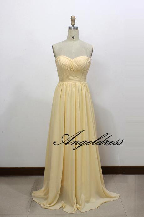 Elegant Long Chiffon Bridesmaid Dresses A Line Sweetheart Pleat Light Yellow Wedding Party Dresses Floor Length Custom made Cheap Prom Party Dress