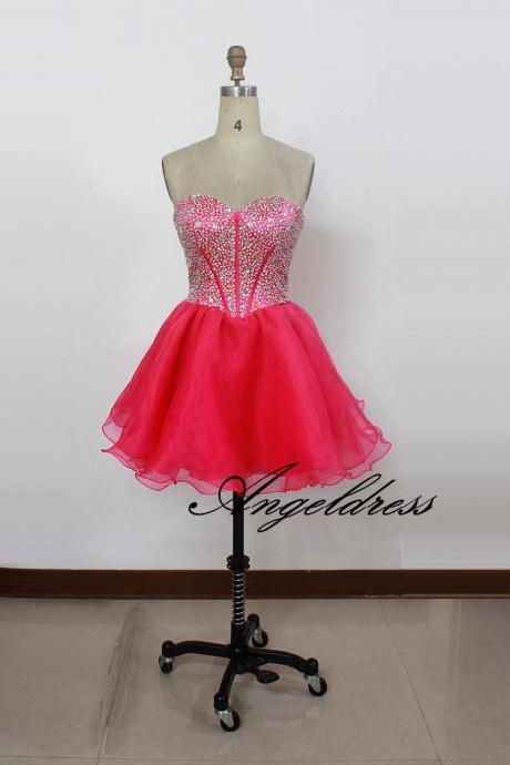 Sexy A Line Short Mini Sweetheart Crystal Beaded Sequins Homecoming Dresses 2017 Organza Cute 8th Grade Graduation Dresses