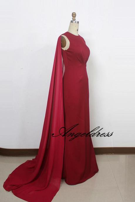 Arabic Design Long Formal Evening Gown Burgundy Mermaid Evening Dresses with Cape Sweep Train 2017 Chiffon Party Dress