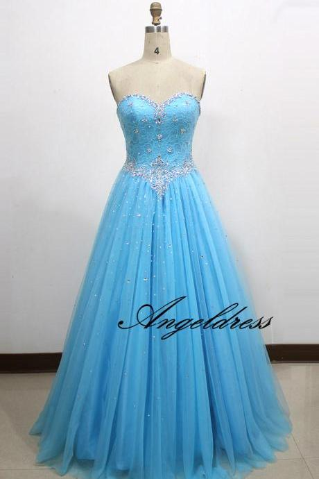 2017 Elegant Sky Blue Long Tulle Prom Dresses A Line Sweetheart Sequins Beads Crystals Floor Length Quinceanera Dress for Sweet 16 Years Lace up Back
