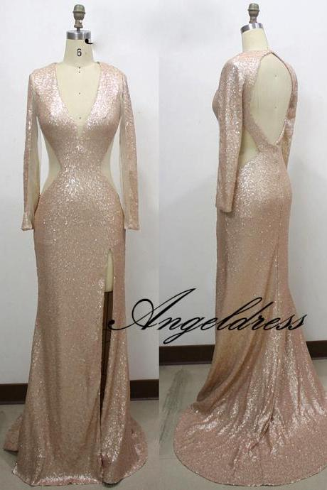 2017 New Sexy Deep V neck Backless Champagne Sequins Prom Dresses Long Sleeve Mermaid Evening Gown Side Split Open Waist Formal Party Dress