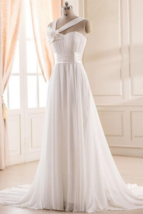 Elegant A-line Sweetheart Court Train Chiffon Wedding Dress with Handmade Flower 2017 Spaghetti Straps Corset Back Bridal Gowns