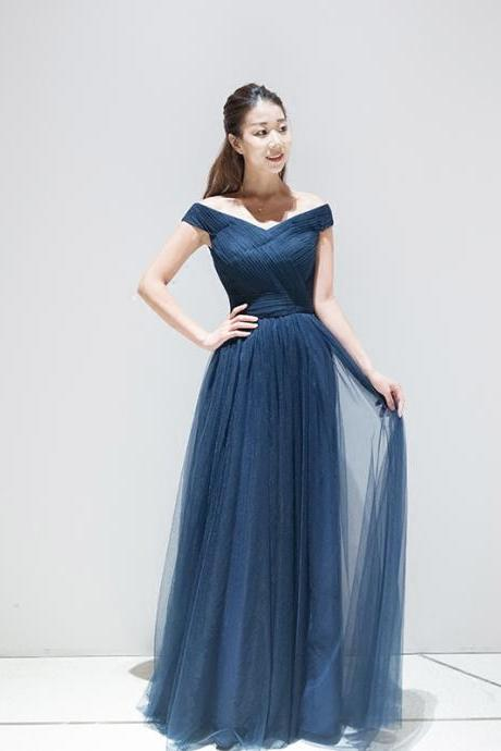 c7fa57aeb95 V Neck Cap Sleeve Long Tulle Party Evening Dresses 2016 Navy Blue Pleat  Elegant Prom Gowns