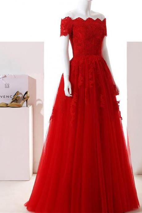 Off the Shoulder Elegant Long Red Evening Dresses 2017 New Short Sleeve Lace Tulle Prom Gowns Custom Made Party Dress
