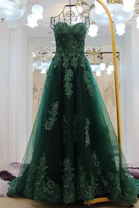 Long Evening Dress Dark Green Prom Party Sweetheart Off Shoulder Tulle Applique Beaded Lace Women Formal Evening Dresses
