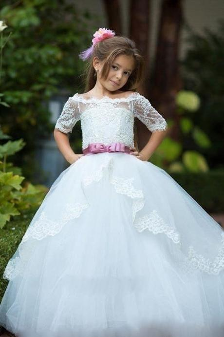 2017 Off Shoulder Flower Girl Dresses for Weddings Ball Gown Lace Appliques Tulle Kids Pageant Gown First Communion Dress