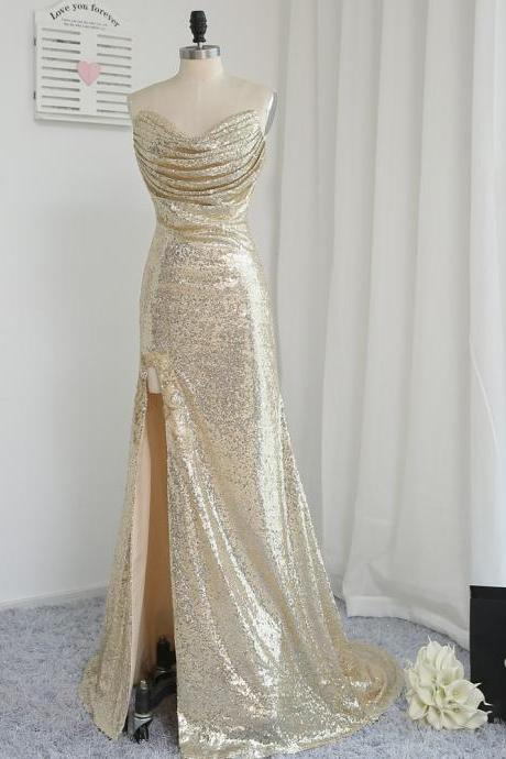 Fitted Light Gold Sexy High Split Prom Dresses 2017 Mermaid Sweetheart Ruched Court Train Long Sequins Evening Party Gowns