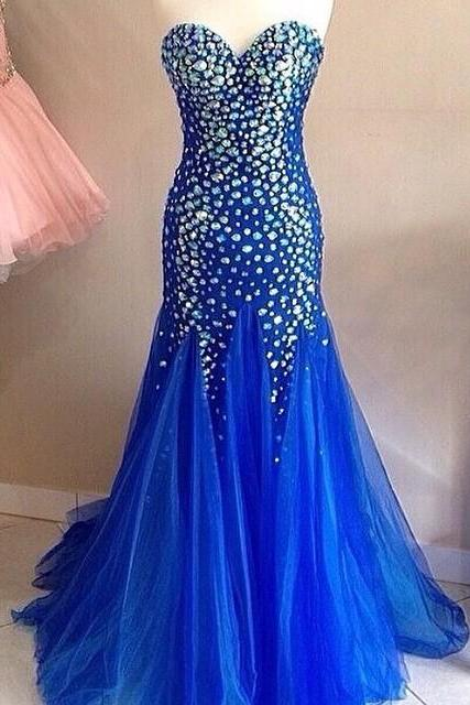 Royal Blue Mermaid Prom Dresses Long Sweetheart Evening Gowns Crystal Beaded 2017 Pageant Dress
