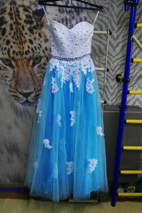 White and Blue Long Prom Dresses 2017 New Beading Sweetheart Sleeveless A Line Lace-up Floor Length Tulle Prom Dress Gown