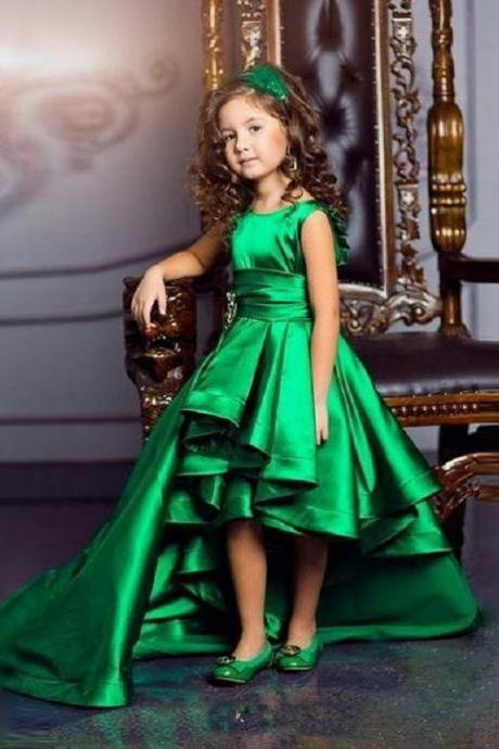 Hi Lo Green Girls Pageant Gowns Satin A Line Pleats Sash Flower Girls Dresses Children Birthday Dress Kids Formal Wear