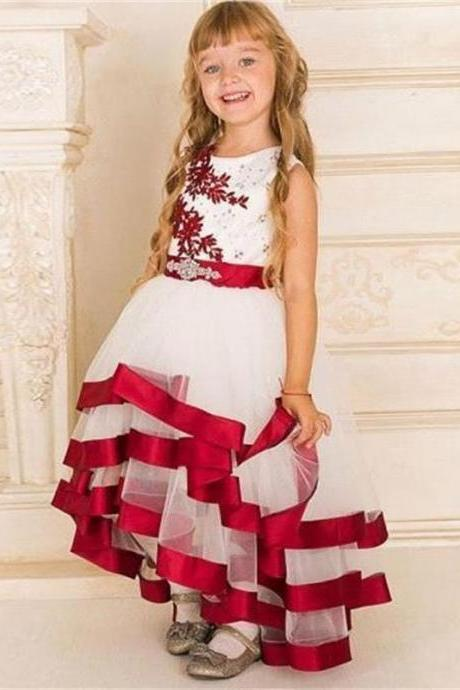 Lovely Colorful High Low Girl's Pageant Dresses 2017 Satin Edged Beaded Crystals Sashes Appliqued Princess Flower Girl Dresses