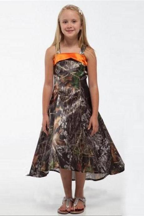 2017 New Spaghetti Straps A Line Hi Lo Junior Bridesmaid Dresses Camo Flower Girls Dress for Wedding Party Tea Length