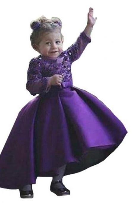 Purple Long Sleeves Flower Girls Dresses Jewel Appliques Beads High Low First Communion Dress Satin Girls Pageant Gowns