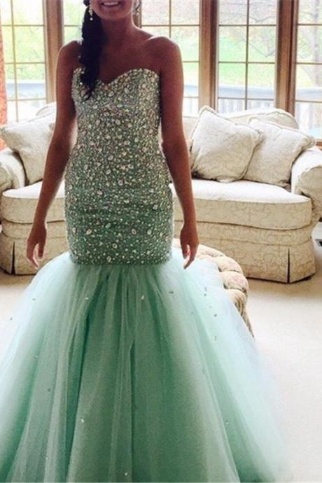 Long 2017 Prom Dress Luxury Crystals Beaded Sequins Sweetheart Princess Mermaid Evening Party Gowns Green Tulle Prom Dresses