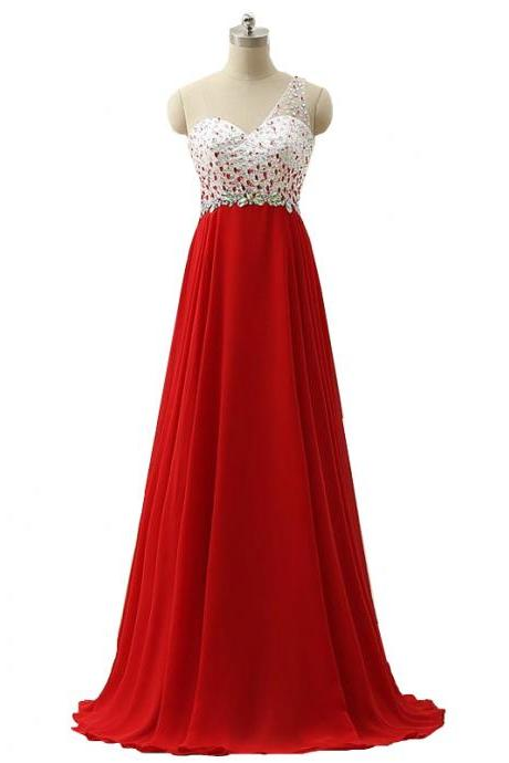 Crystal One Shoulder Red Empire Prom Dress Floor Length Sexy Open Back Sequins Beads Prom Gowns Long Chiffon Party Dress