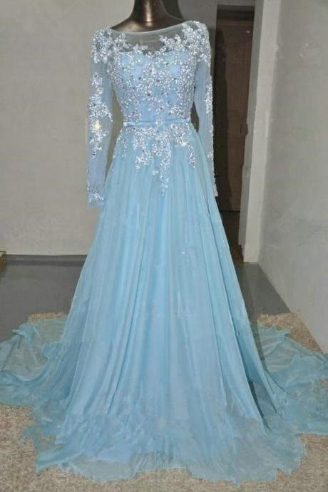 Pretty Light Blue Chiffon Long Prom Dress With Applique And Beadings, Prom Dresses,Formal Dresses, EVening Dresses