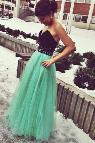 Handmade Green Tulle Black Sweetheart Bust Long Prom Dress with Beadings, Green Long Prom Gown 2017, Prom Dresses, Evening Dresses