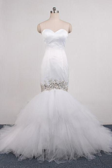 Strapless Sweetheart Beaded Satin Tulle Mermaid Wedding Dress with Long Train
