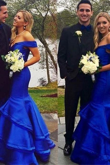 Arabic Royal Blue Prom Dress,Mermaid Evening Dress,2017 Prom Dresses,Dubai Formal Party Dress,Off Shoulders Evening Party Dresses, Tiers Ruffles Prom Gowns,Custom Made women Party Dress,Red Prom Dresses