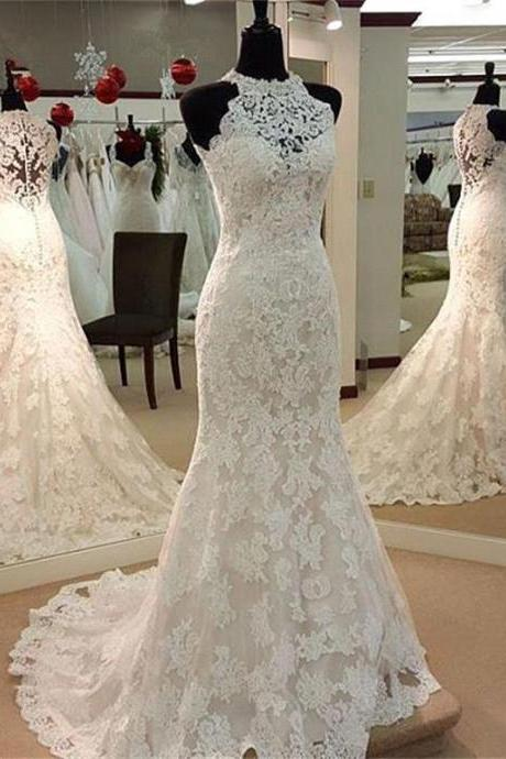 2017 Elegant Sheer Neck Full Lace Mermaid Wedding Dresses High Neck Illusion Back Court Train Bridal Gowns With Covered Button