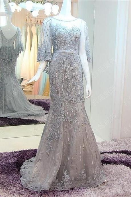 Custom Made 2017 Spring Summer Elegant Mermaid Gray Prom Dresses Lace Appliques Sequins Beads Women Formal Evening Party Gowns Court Train Tulle Prom Dress