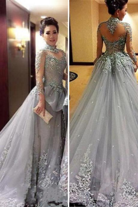 Modest Tulle Appliques High-Neck Long Sleeves Prom Dress 2017 New Court Train See Through Back Women Evening Party Dress Formal Dresses Gowns
