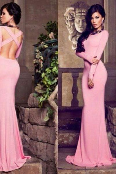 Modern Bateau Long Sleeve Mermaid Prom Dress Floor-length Cross Crisis Back Sexy Women Evening Party Dresses Gowns