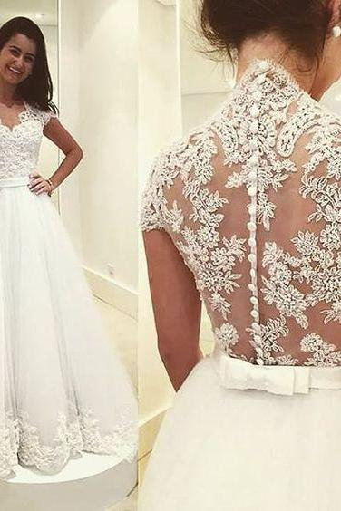 A line Cap Sleeves Lace Wedding Dress,Sexy Open Back Lace Bridal Dress