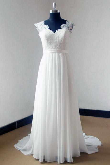 Sleeveless V-Neck Lace Appliqués Chiffon A-line Long Wedding Dress