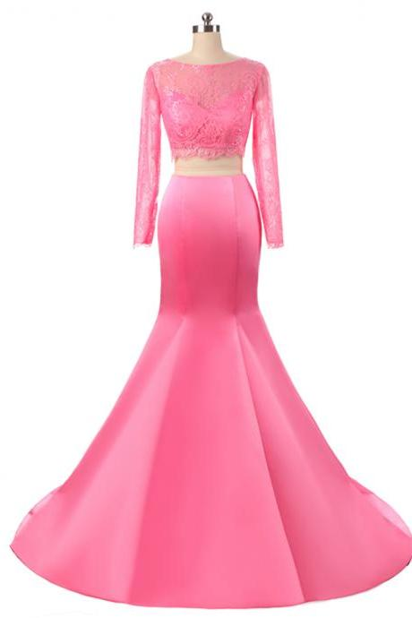 2017 Hot Pink Two Piece Lace Bodice Prom dress With Long Sleeve Custom Made Formal Dress Court Train Satin Women Party Gown Evening Dress