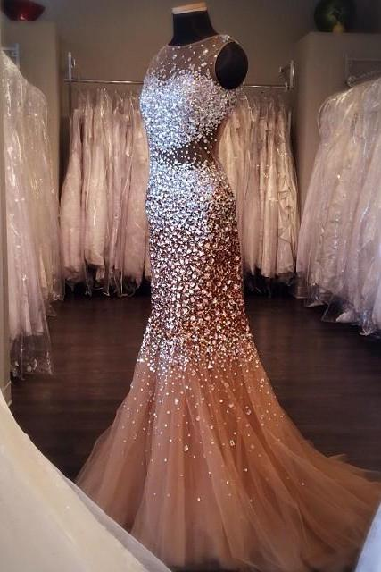 Mermaid Sleeveless Crystal Tulle 2017 Prom Dresses Long Sexy Stunning Glorious Formal Dress Party Gowns
