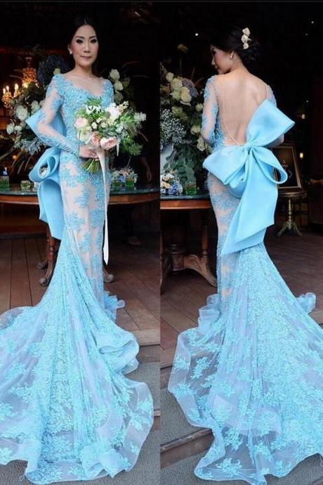 2017 Prom dresses New arrival Mermaid Tulle Lace Appliques gowns Custom made Backless Full long sleeve Prom gown Blue Custom made Prom Gowns with Big Bow