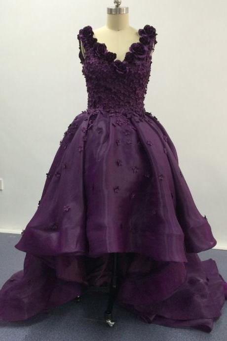 Elegant Purple Deep V Neck Appliqued Floral Short Front Long Back High Low Prom Dresses Lace Up Back Women Formal Party Dress Gowns Custom made