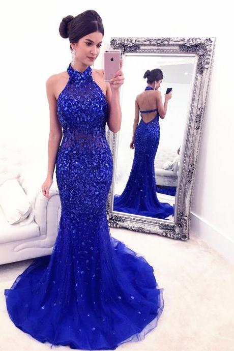 Luxury Crystals Beaded Prom Dress, Senior Prom Dress, Halter Prom Dress, Sexy Backless Prom Dress, Royal Blue Prom Dress, Bling Bling Prom Dress, Prom Dress for Teens