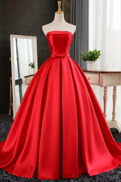 Red Ball Gown Long Satin Prom Dresses, Red Prom Dresses, Red Party Gowns,Custom Made Party Dress,Wedding Party Dress Gowns