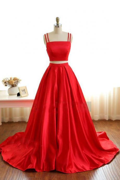 Gorgeous Red Satin Two Piece Straps Prom Gowns, Red Prom Gowns, Two Piece Party Dresses,2017 New Graduation Dress Gowns,Long Satin Party Dress