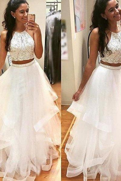 Two Pieces Prom dresses, Beading A- line Prom Dresses, Halter Prom Dresses ,Custom Made Prom Gown,Floor Length Party Dress,White Graduation Dresses Gowns