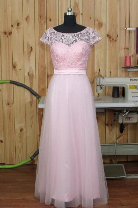 2017 Light Pink Tulle Lace Short Sleeves A Line Floor Length Formal Long Bridesmaid Dresses Custom Made Wedding Party Dress Gowns