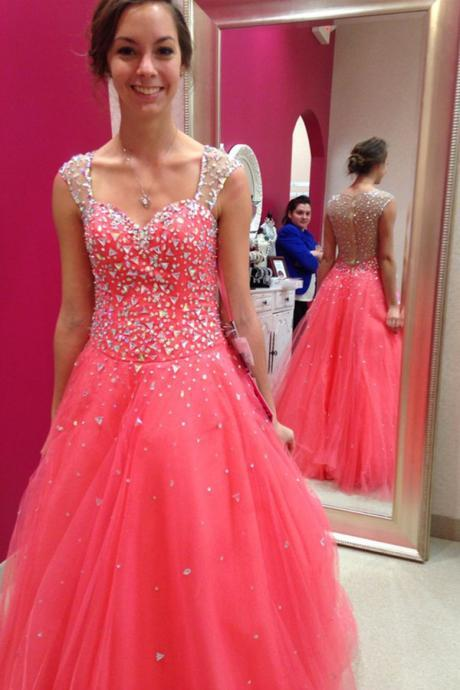 Quinceanera Dresses,Sheer Back Beading Crystals Tulle Prom Dreses,Beautiful Prom Dress For Teens,Watermelon Party Prom Dresses