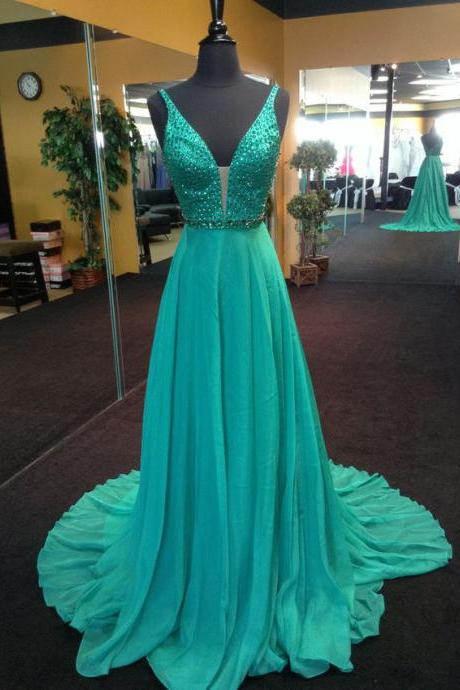 Hunter Green Long Chiffon Prom Dress,Elehant V Neck Party Dresses.Crystals Backless Prom Gowns,Court Train Graduation Dress,2017 Custom Made