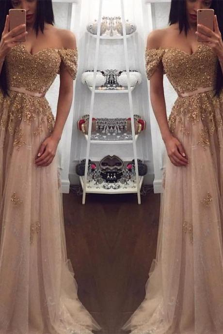 Champagne Evening Gowns,Tulle Prom Dress,Sweetheart Dress,Long Bridesmaid Dresses,Lace Appliques Graduation Dress,Floor length Party Dress