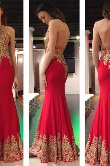 Sexy Backless Prom Dresses,Beading Gold Appliques Prom Dress, Halter Prom Dress,Red Mermaid Prom Dress, Evening Gowns