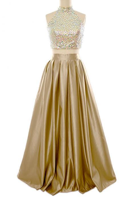 High Neck Prom Dress, Beaded Gold Color Prom Dress, Two Piece Prom Dress,Custom Made Graduation Party Gowns
